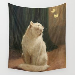 White Cat and Two Brimstone Butterflies by Arthur Heyer Wall Tapestry