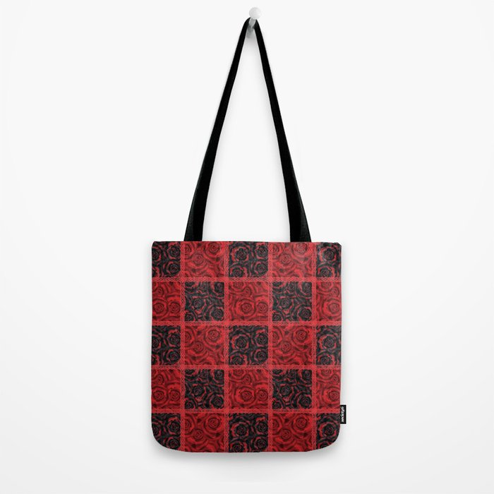 Patchwork . Roses are red. Tote Bag