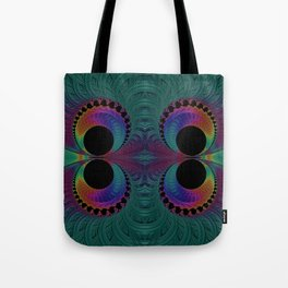Peacock Feathers Eyes Fractal Abstract Tote Bag
