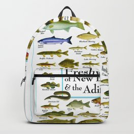 Illustrated New England and  Adirondacks Game Fish Identification Chart Backpack