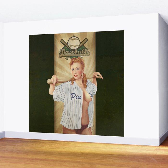 VINTAGE GIRLS - Baseball Wall Mural