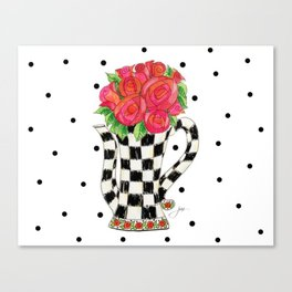 Teapot Roses Canvas Print