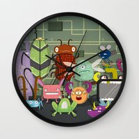 computer Wall Clocks featuring Computer bugs by Fran Court