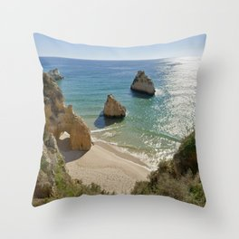 cliff formations at Alvor, Portugal Throw Pillow