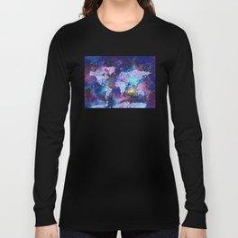 world map galaxy purple Long Sleeve T-shirt