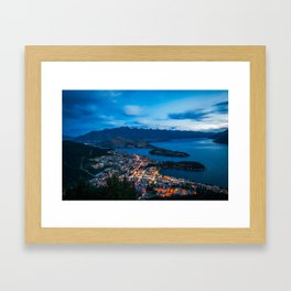 Queenstown City Lights from Skyline, New Zealand Framed Art Print