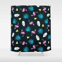 Sketchy - memphis wacka design throwback neon 1980s 80s style retro pattern grid flamingo tropical Shower Curtain