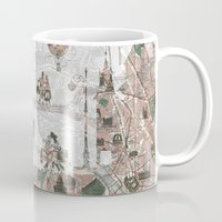 paris map Mugs featuring Paris Map by Paula Belle Flores