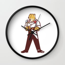 Cheetah Heating Specialist Isolated Cartoon Wall Clock
