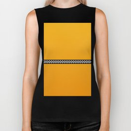 NY Taxi Cab Yellow with Black and White Check Band Biker Tank