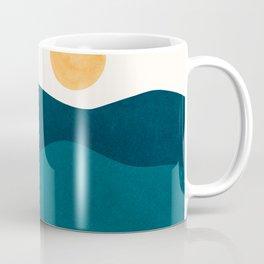 Teal Mountains / Minimalist Landscape Coffee Mug