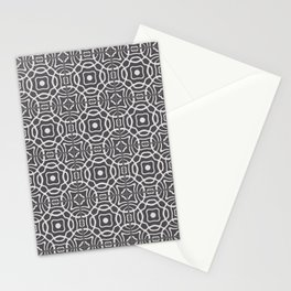 Vintage Noir Geometric Farmhouse Tile Mandala Pattern Black Gray Stationery Cards