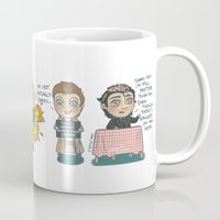 cyrilliart Mugs featuring Night Cha- I'M SORRY by Cyrilliart