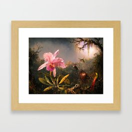 Martin Johnson Heade Cattleya Orchid and Three Brazilian Hummingbirds Framed Art Print
