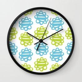 Fun Flowers blue green Wall Clock