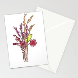Wild Flower Bouquet Watercolor Painting Stationery Cards
