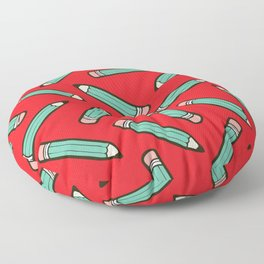 Pencil me in red Floor Pillow