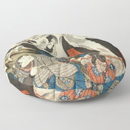 Utagawa Kuniyoshi - Takiyasha the Witch and the Skeleton Spectre Floor Pillow