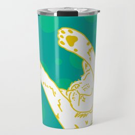 Contented Cat - Green Spots Travel Mug