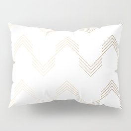 Simply Deconstructed Chevron White Gold Sands on White Pillow Sham