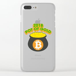 2018 Pot Of Gold Bitcoin St Patricks Day Clear iPhone Case