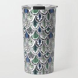 blue and green boho feather pattern Travel Mug