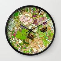 Detailed summer floral pattern, green Wall Clock