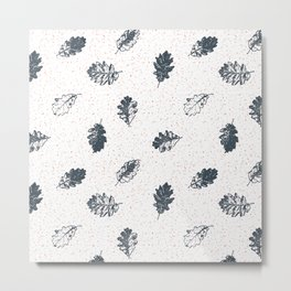Oak leaves seamless pattern design, Charcoal color leaves on white sandy background Metal Print