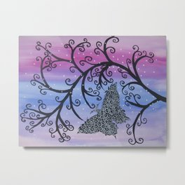Watercolour acrylic pink butterfly with tree branches Metal Print