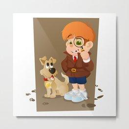 Smart young cartoon detective boy and his dog Metal Print