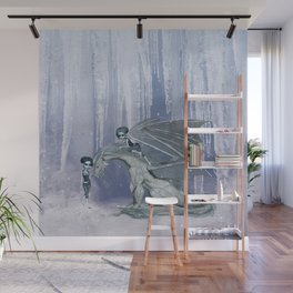 Awesome ice dragon with fairys Wall Mural