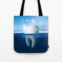 tooth Tote Bags featuring Tooth Iceberg by Dan Cretu
