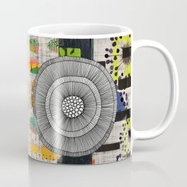 Lime & Navy Abstract Art Collage Coffee Mug