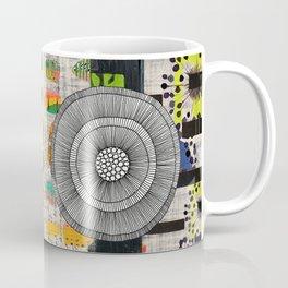 Lime & Navy Abstract Art Collage Coffee Mug
