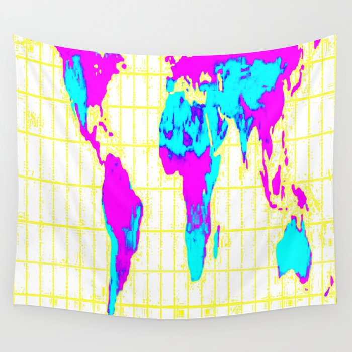 World Map Gall Peters Colorful Wall Tapestry By Vintageby2sweet