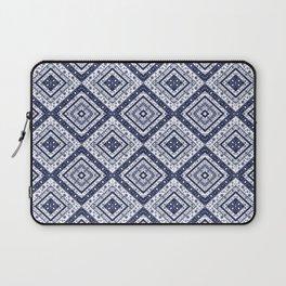 Strict , white blue ornament. Laptop Sleeve