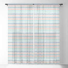 Hand drawn textured maritime rope stripes. Sheer Curtain