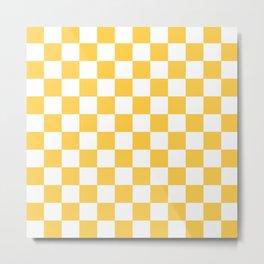 Checkered (Orange & White Pattern) Metal Print