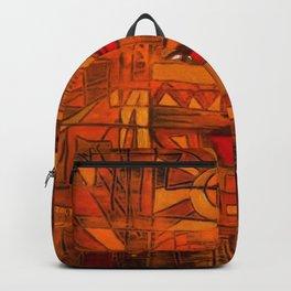 Indigenous Inca Sun God Inti portrait painting by Ortega Maila Backpack
