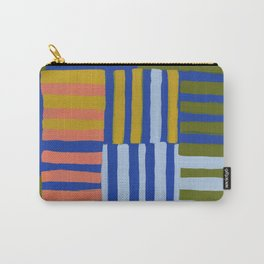 Painted Color Block Grid Carry-All Pouch