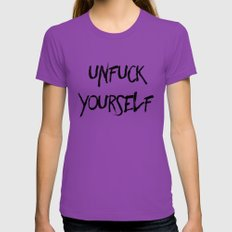 Unfuck Yourself MEDIUM Ultraviolet Womens Fitted Tee