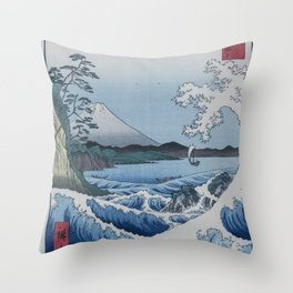 Sea Off Satta - Japanese Woodblock Print by Hiroshige Throw Pillow
