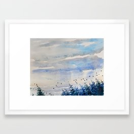 black birds, blue sky Framed Art Print