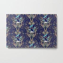 Art Nouveau Dragonflies | Navy Metal Print
