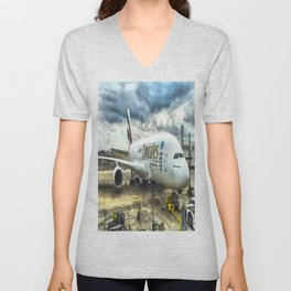 Emirates A380 Airbus Art Unisex V-Neck