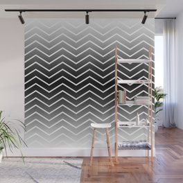 Fat Thin Chevrons Dove White Wall Mural