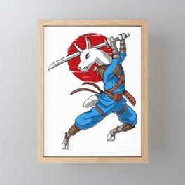 Llama Ninja Samurai Framed Mini Art Print
