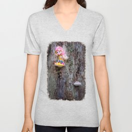 Disabled, colorful doll sitting on the bracket fungus Unisex V-Neck