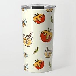Apple Honeybee Pattern Decoration Travel Mug