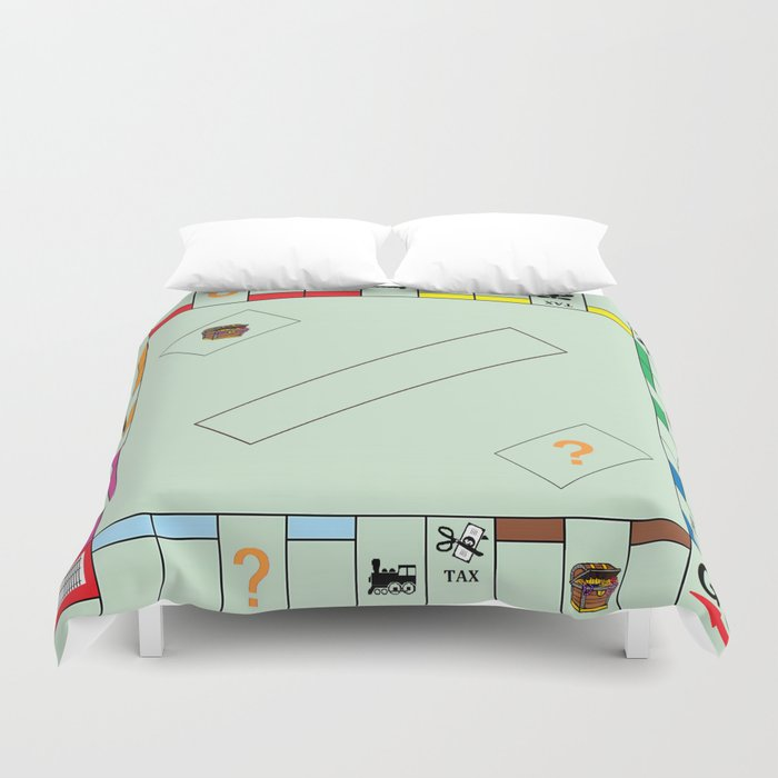 Monopoly Print Currency Game Duvet Cover by mprevost